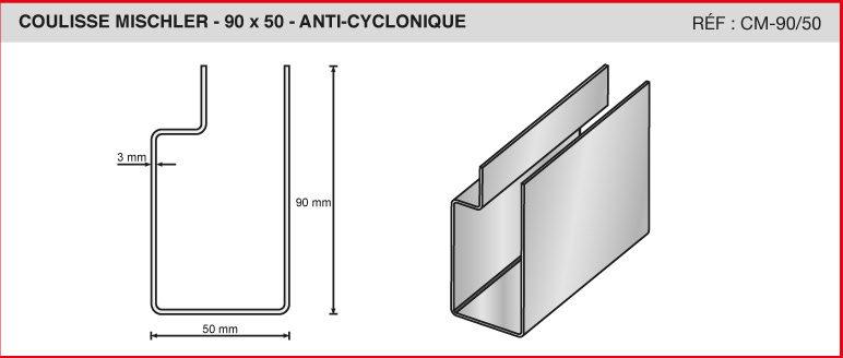 COULISSE MISCHLER - 90x50 - ANTI-CYCLONIQUE - Réf CM-90/50